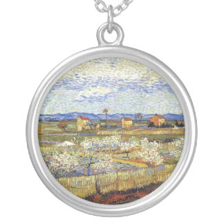 Vincent Van Gogh - La Crau With Peach Trees Silver Plated Necklace