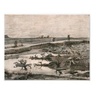Vincent van Gogh - Landscape with Bog Trunks Art Photo