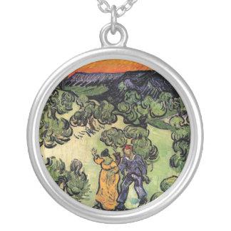 Vincent Van Gogh - Landscape With Couple Fine Art Silver Plated Necklace