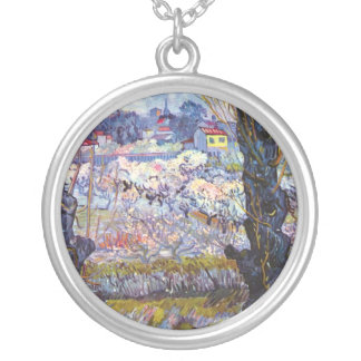 Vincent Van Gogh – Orchard In Bloom With Poplars Silver Plated Necklace