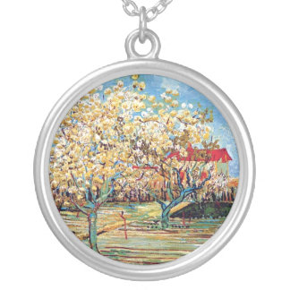 Vincent Van Gogh - Orchard In Blossom Fine Art Silver Plated Necklace