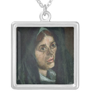 Vincent van Gogh | Peasant with moss green shawl Silver Plated Necklace