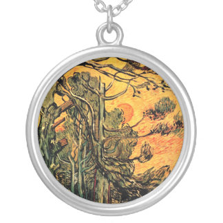 Vincent Van Gogh - Pine Trees Against A Red Sky Silver Plated Necklace