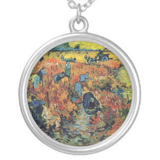 Vincent Van Gogh - Red Vineyard At Arles Painting Silver Plated Necklace
