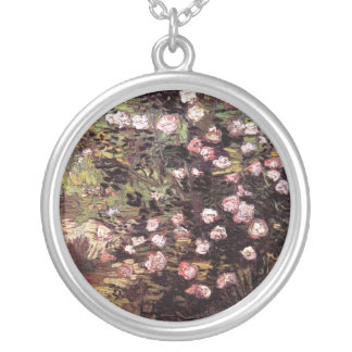 Vincent Van Gogh - Rosebush In Blossom Fine Art Silver Plated Necklace