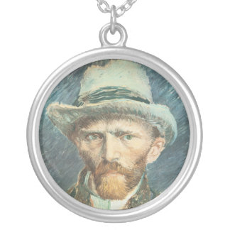Vincent Van Gogh Self Portrait with Grey Felt Hat Silver Plated Necklace