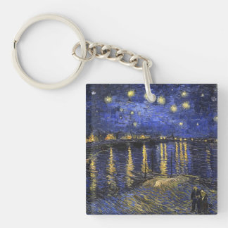 Vincent Van Gogh Starry Night Over The Rhone Double-Sided Square Acrylic Key Ring