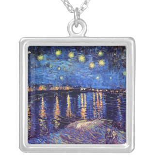 Vincent Van Gogh - Starry Night Over The Rhone Silver Plated Necklace