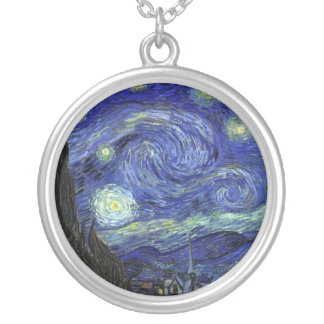 Vincent van Gogh, Starry Night Silver Plated Necklace