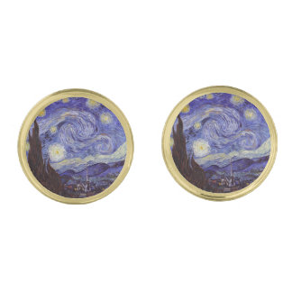 Vincent Van Gogh Starry Night Vintage Fine Art Gold Finish Cufflinks