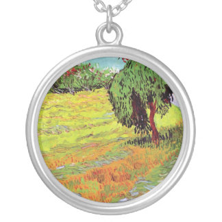 Vincent Van Gogh - Sunny Lawn In A Public Park Silver Plated Necklace