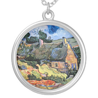 Vincent Van Gogh - Thatched Cottages At Cordeville Silver Plated Necklace