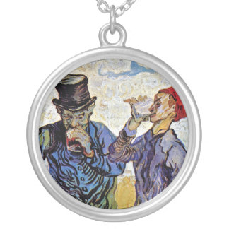Vincent Van Gogh - The Drinkers - Fine Art Silver Plated Necklace