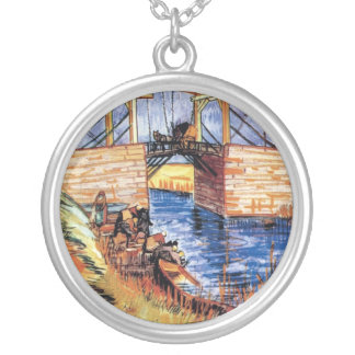 Vincent Van Gogh - The Langlois Bridge At Arles Silver Plated Necklace
