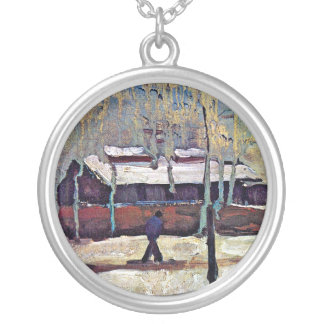 Vincent Van Gogh - The Old Station At Eindhoven Silver Plated Necklace