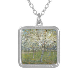 Vincent Van Gogh The Pink Orchard -Floral Painting Silver Plated Necklace