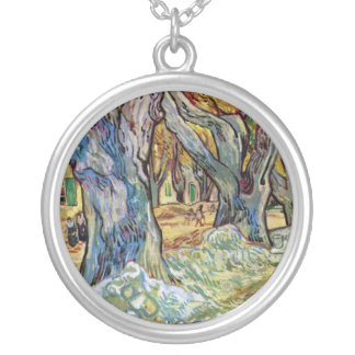 Vincent Van Gogh - The Road Menders - Fine Art Silver Plated Necklace