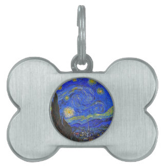 Vincent van Gogh - The Starry Night (1889) Pet Name Tag
