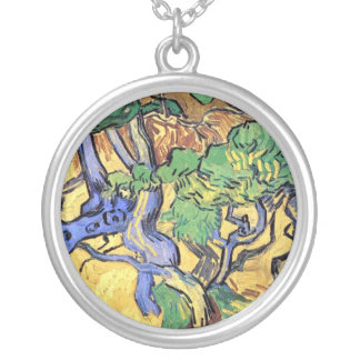 Vincent Van Gogh - Tree Roots And Trunks Fine Art Silver Plated Necklace