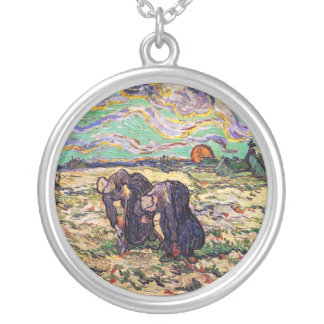 Vincent Van Gogh - Two Peasant Women - Fine Art Silver Plated Necklace