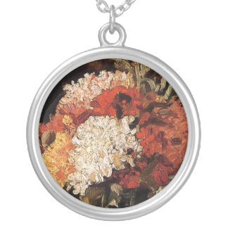 Vincent Van Gogh - Vase With Carnations - Fine Art Silver Plated Necklace