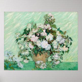 Vincent van Gogh Vase with Pink Roses Poster