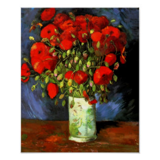 Vincent Van Gogh Vase With Red Poppies Floral Art Poster