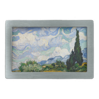 Vincent Van Gogh Wheat Field With Cypresses Rectangular Belt Buckles