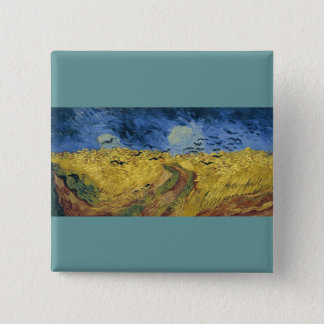 Vincent van Gogh's Wheat Field with Crows (1890) 15 Cm Square Badge