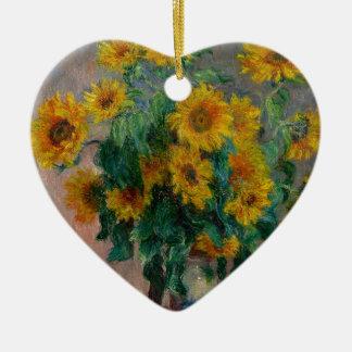 Vincent Willem van Gogh and Sunflower Ceramic Heart Decoration