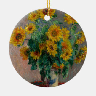 Vincent Willem van Gogh and Sunflower Round Ceramic Decoration
