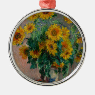 Vincent Willem van Gogh and Sunflower Silver-Colored Round Decoration