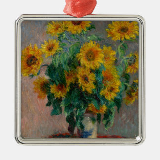 Vincent Willem van Gogh and Sunflower Silver-Colored Square Decoration