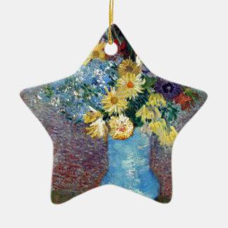 Vincent Willem van Gogh - Flowers in a blue vase Ceramic Star Decoration