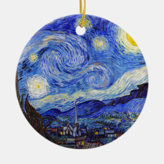 "Vincent Willem van Gogh, ""Starry Night"" Round Ceramic Decoration"