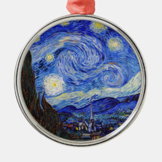 """Vincent Willem van Gogh, """"Starry Night"""" Silver-Colored Round Decoration"""