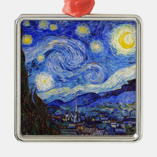 """Vincent Willem van Gogh, """"Starry Night"""" Silver-Colored Square Decoration"""