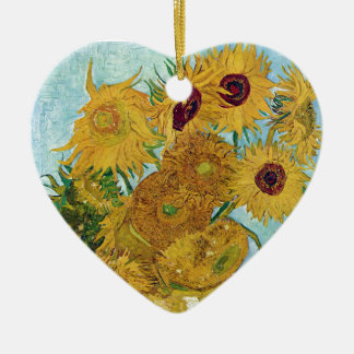 "Vincent Willem van Gogh, ""Sunflowers"" Ceramic Heart Decoration"