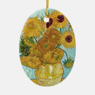 "Vincent Willem van Gogh, ""Sunflowers"" Ceramic Oval Decoration"