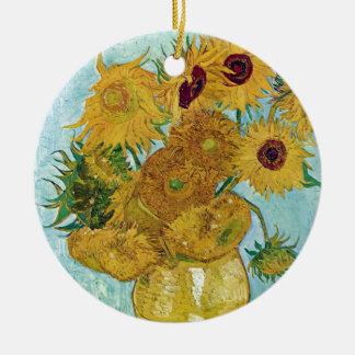 "Vincent Willem van Gogh, ""Sunflowers"" Round Ceramic Decoration"