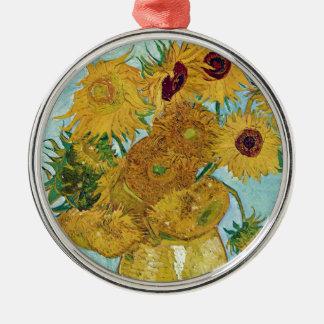 "Vincent Willem van Gogh, ""Sunflowers"" Silver-Colored Round Decoration"