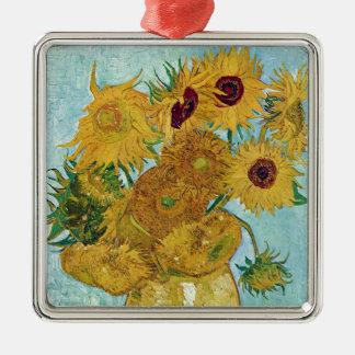 "Vincent Willem van Gogh, ""Sunflowers"" Silver-Colored Square Decoration"