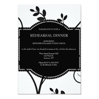 Vine floral rehearsal dinner invitations