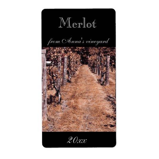 Vineyard home made wine bottle label