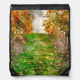 Vineyard in Napa Valley during Fall Drawstring Bag