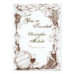 Vineyard Winery Grape Vines Sketch Wedding 13 Cm X 18 Cm Invitation Card