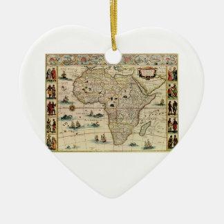 Vintage 1660's Africa Map by Willem Janszoon Blaeu Ceramic Heart Decoration