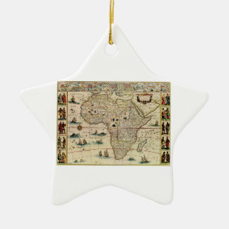 Vintage 1660's Africa Map by Willem Janszoon Blaeu Ceramic Star Decoration