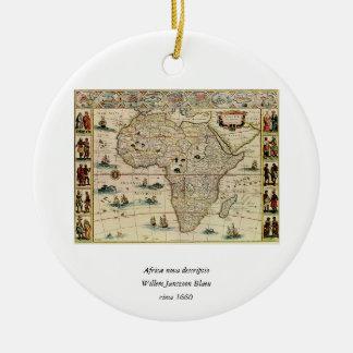Vintage 1660's Africa Map by Willem Janszoon Blaeu Round Ceramic Decoration