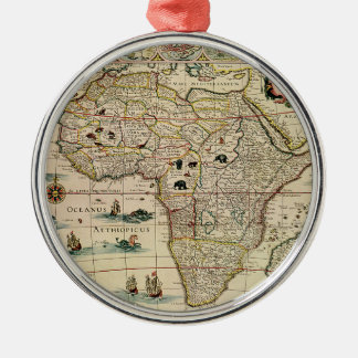 Vintage 1660's Africa Map by Willem Janszoon Blaeu Silver-Colored Round Decoration